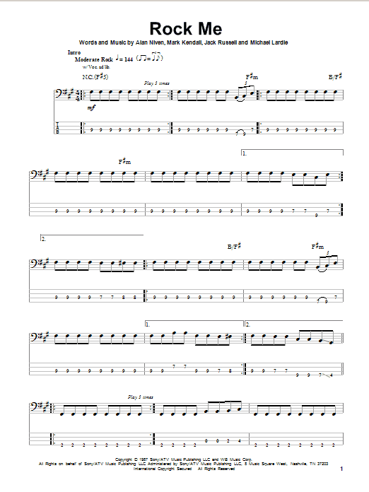 Rock Me | Great White | Bass Guitar Tab