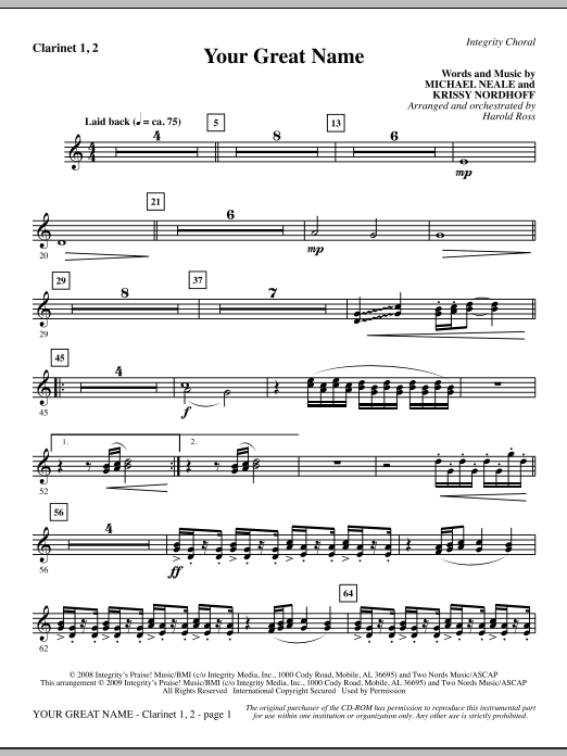 Your Great Name - Clarinet 1 & 2 Sheet Music