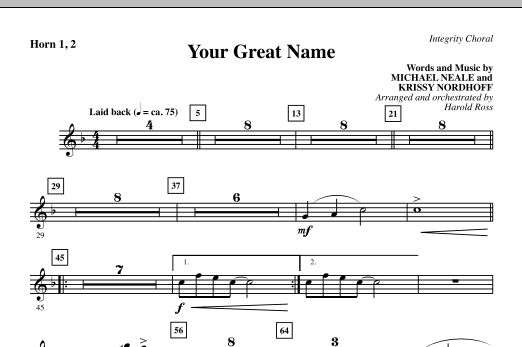 Your Great Name - Horn 1 & 2 Sheet Music