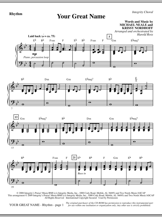 Your Great Name - Rhythm Sheet Music