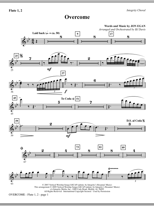 Overcome - Flute 1 & 2 Sheet Music