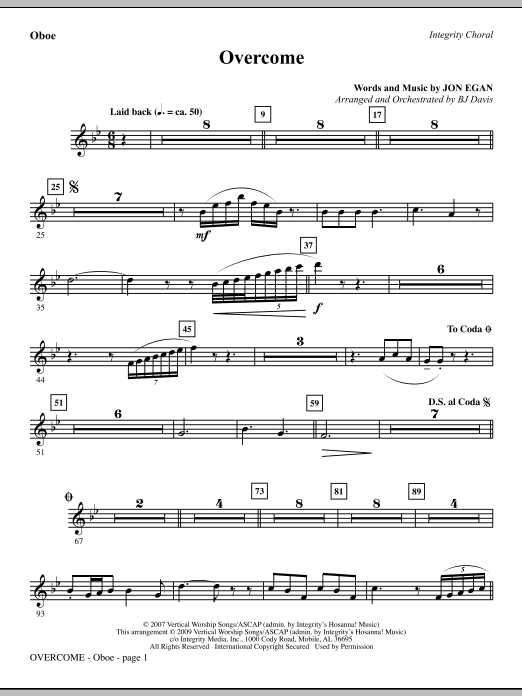Overcome - Oboe Sheet Music