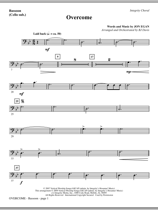 Overcome - Bassoon (Cello sub.) Sheet Music