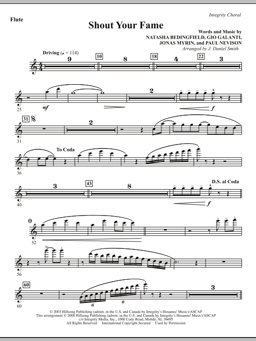 Shout Your Fame - Flute Sheet Music
