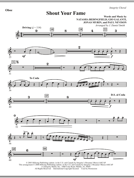 Shout Your Fame - Oboe Sheet Music