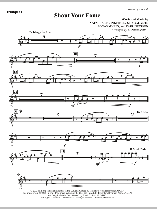 Shout Your Fame - Trumpet 1 Sheet Music