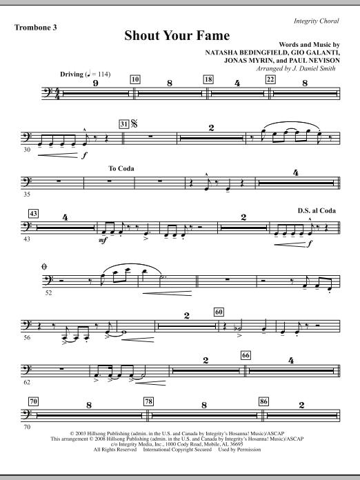 Shout Your Fame - Trombone 3 Sheet Music