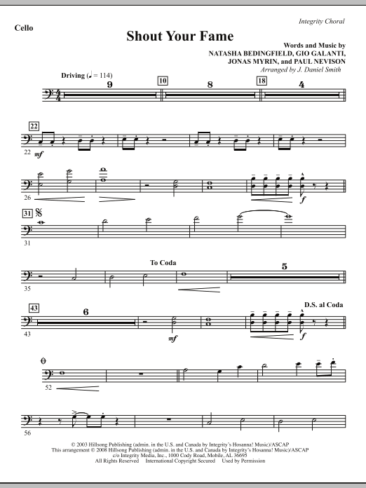 Shout Your Fame - Cello Sheet Music
