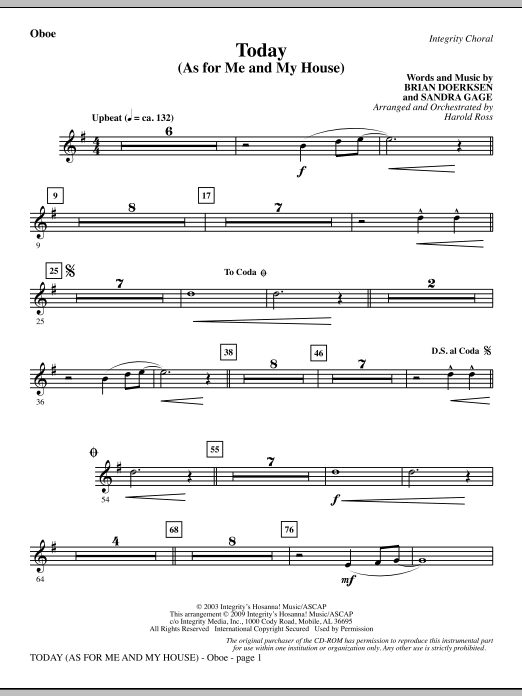 Today (As For Me And My House) - Oboe Sheet Music