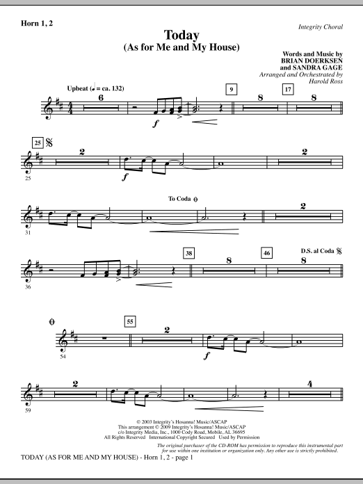 Today (As For Me And My House) - Horn 1 & 2 Sheet Music