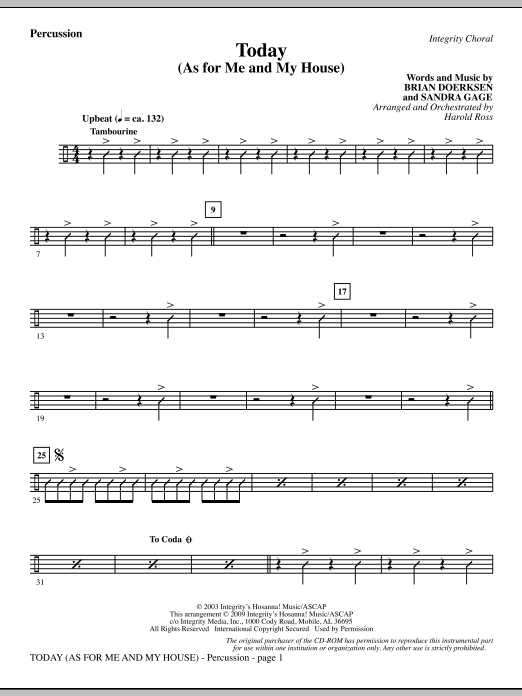 Today (As For Me And My House) - Percussion Sheet Music