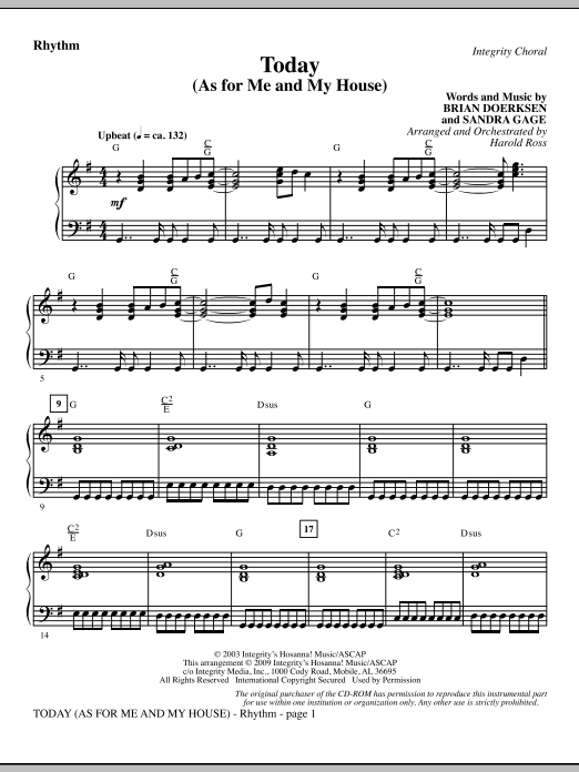 Today (As For Me And My House) - Rhythm Sheet Music