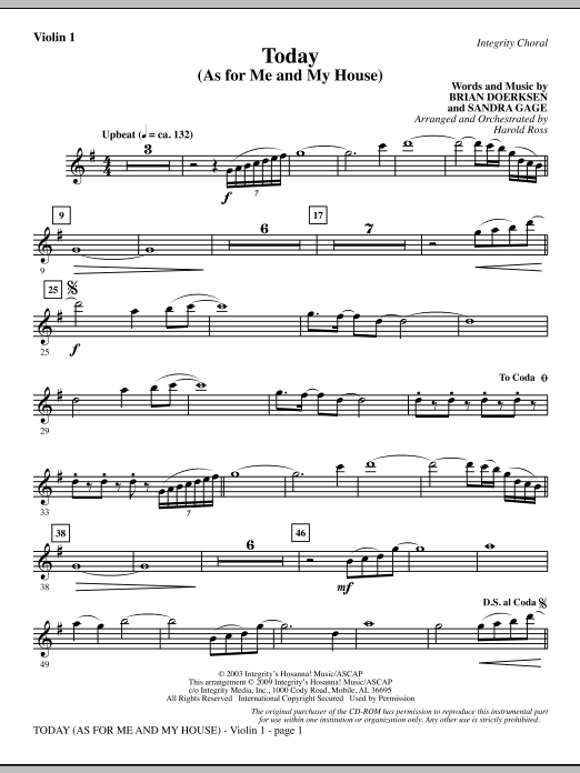 Today (As For Me And My House) - Violin 1 Sheet Music