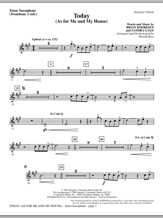 Today (As For Me And My House) - Tenor Sax (sub. Tbn 2) Sheet Music