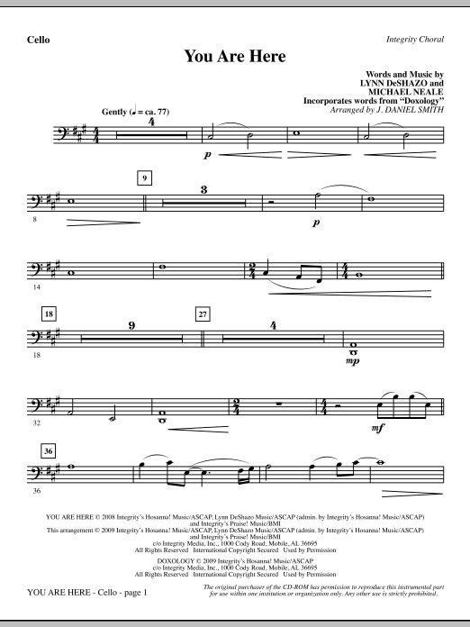 You Are Here (incorporating Doxology) - Cello Sheet Music