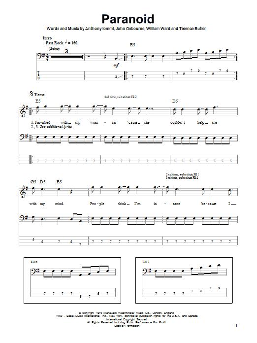 Paranoid Sheet Music