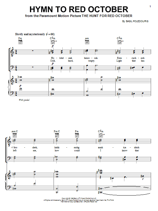Hymn To Red October (Piano, Vocal & Guitar (Right-Hand Melody))
