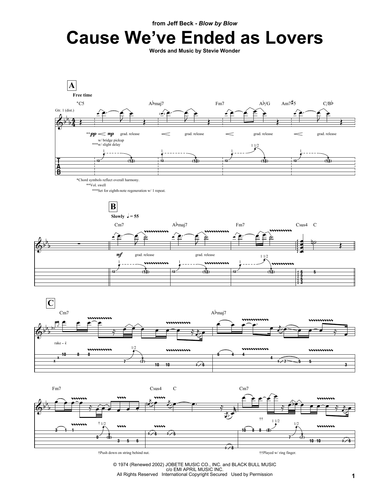 Cause We've Ended As Lovers Sheet Music