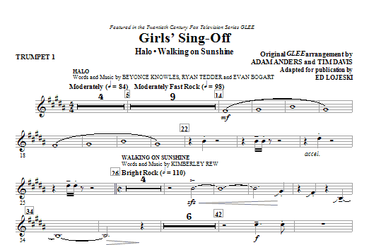 Girls' Sing-Off (from Glee) (complete set of parts) sheet music for orchestra/band (chamber ensemble) by Ed Lojeski, Adam Anders, Glee Cast and Miscellaneous. Score Image Preview.