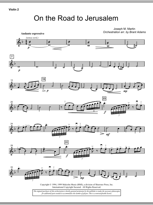 On The Road To Jerusalem - Violin 2 (Choir Instrumental Pak)