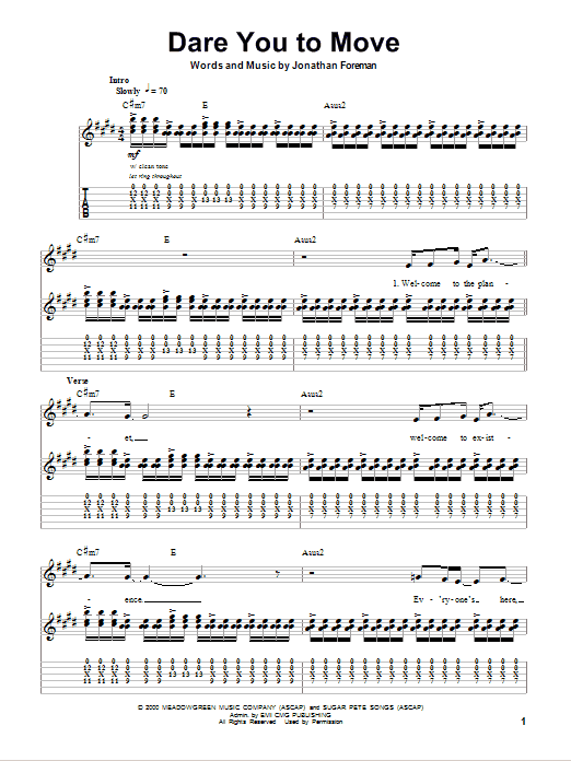 Dare You To Move Sheet Music Direct