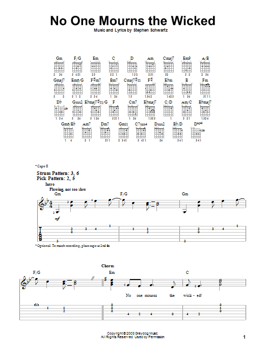 No One Mourns The Wicked (Easy Guitar Tab)