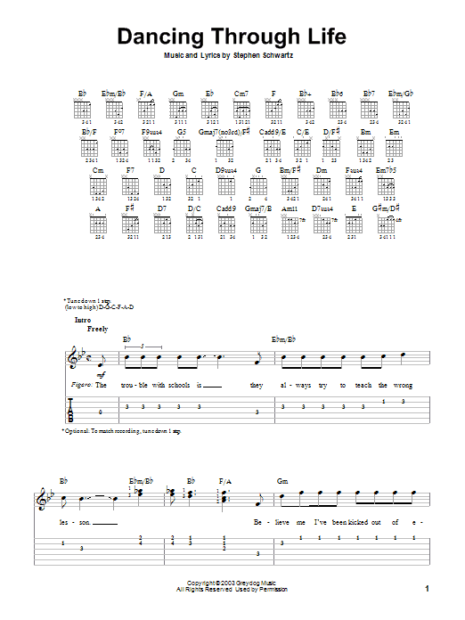 Tablature guitare Dancing Through Life de Stephen Schwartz - Tablature guitare facile