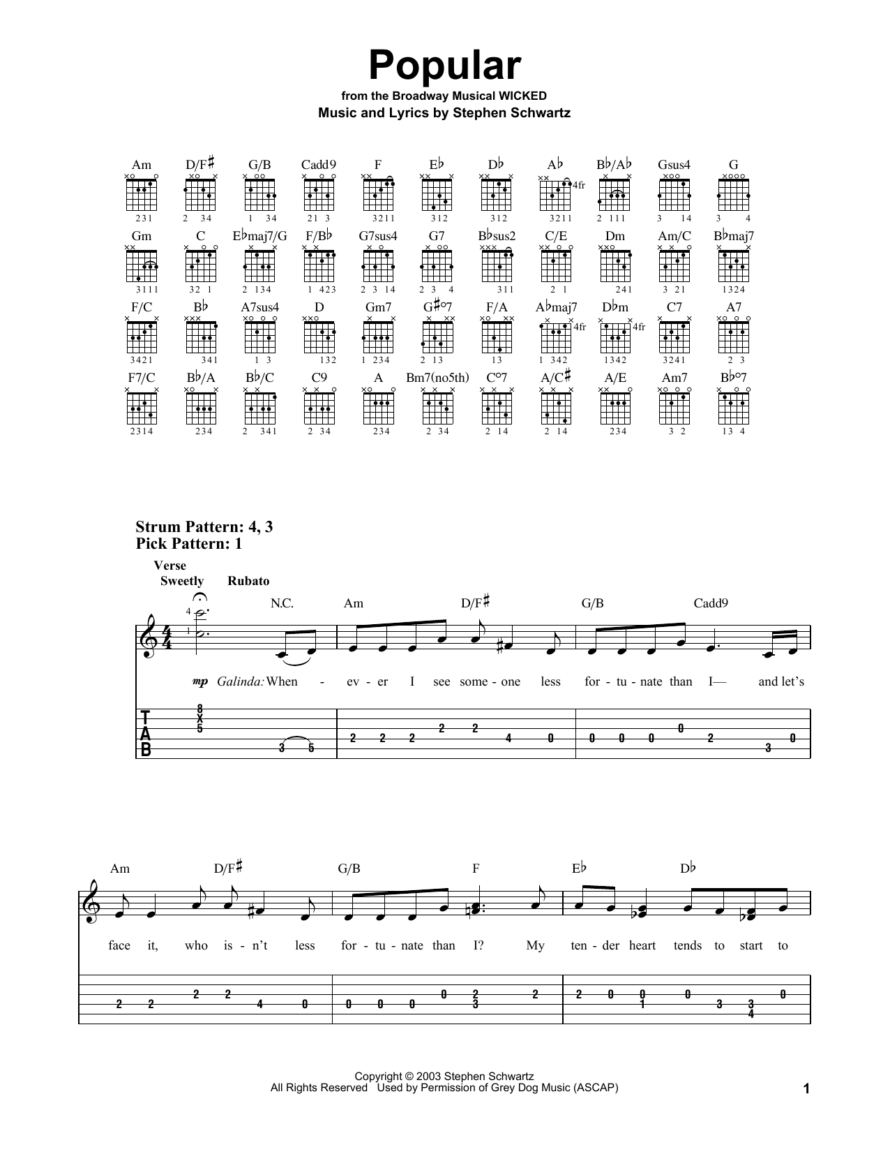Tablature guitare Popular de Stephen Schwartz - Tablature guitare facile