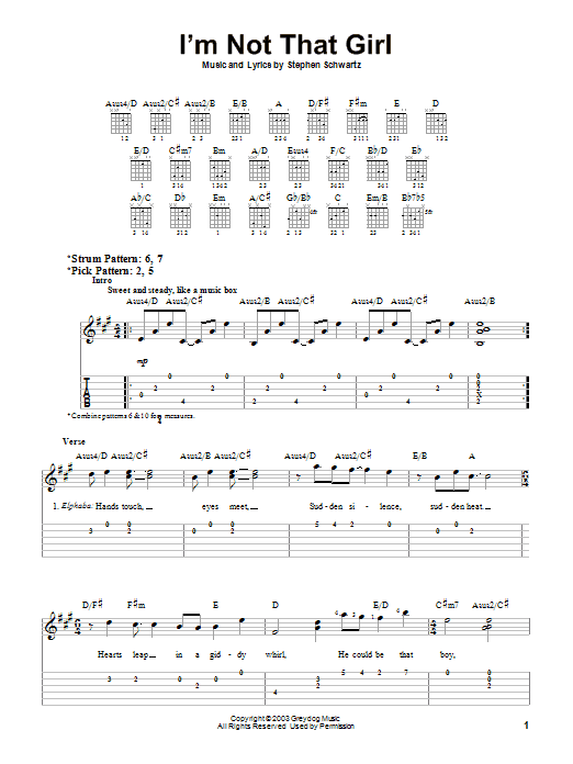 Tablature guitare I'm Not That Girl de Stephen Schwartz - Tablature guitare facile