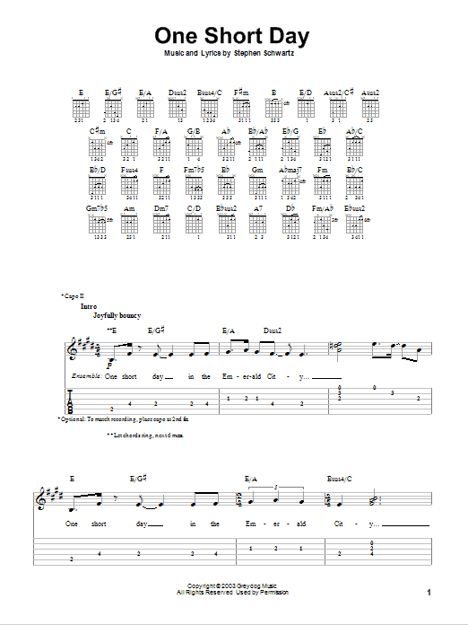 Tablature guitare One Short Day de Stephen Schwartz - Tablature guitare facile