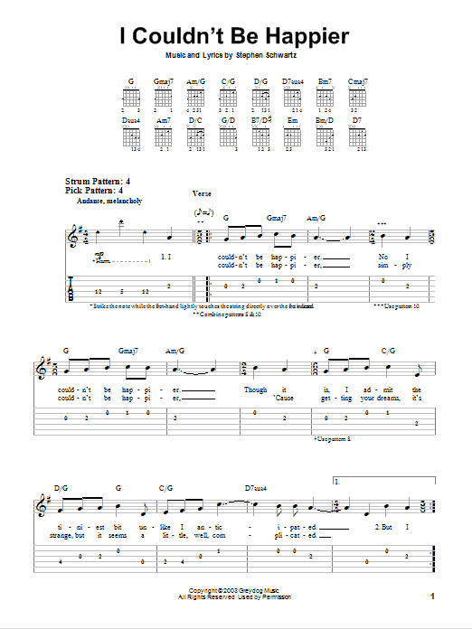 Tablature guitare I Couldn't Be Happier de Stephen Schwartz - Tablature guitare facile