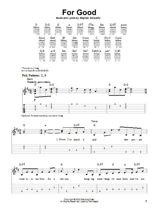 Tablature guitare For Good de Stephen Schwartz - Tablature guitare facile