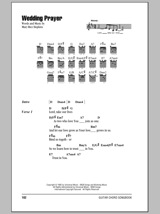 Wedding Prayer (Guitar Chords/Lyrics)