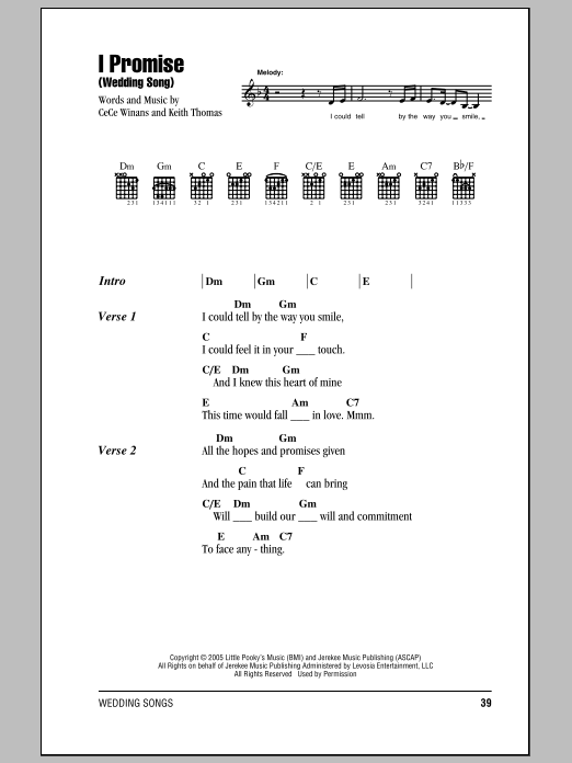 I Promise Wedding Song Sheet Music By Cece Winans Lyrics Chords