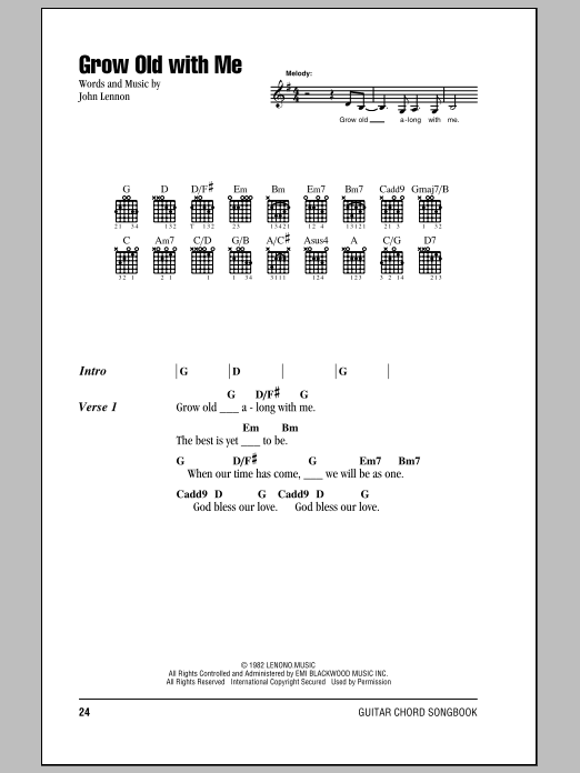 Grow Old With Me Sheet Music