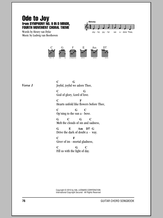 Ode To Joy Sheet Music Direct