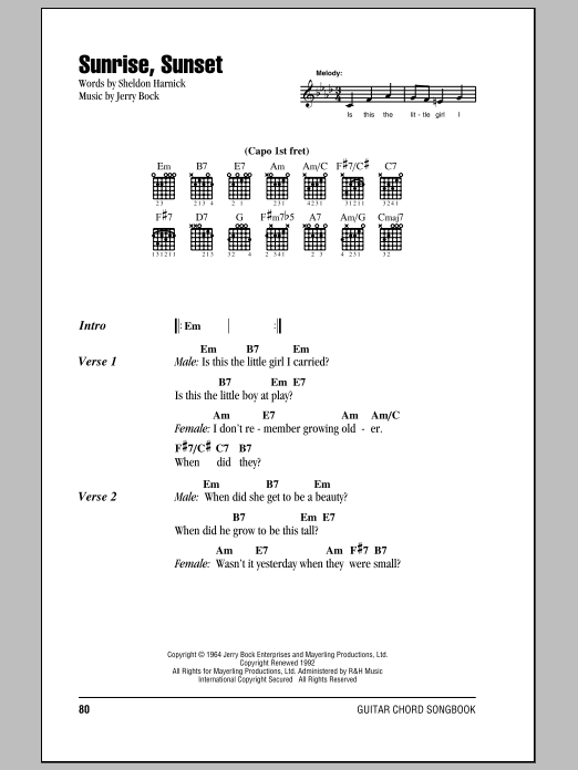 Sunrise, Sunset Sheet Music