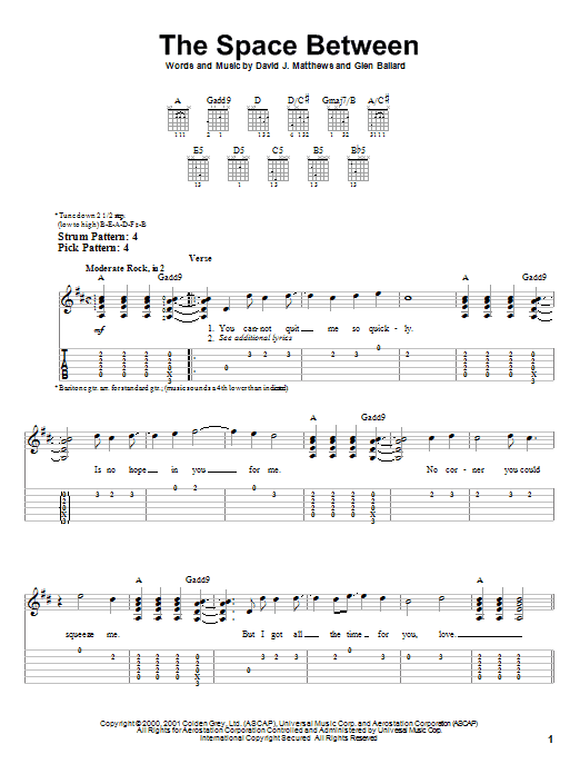 Tablature guitare The Space Between de Dave Matthews Band - Tablature guitare facile