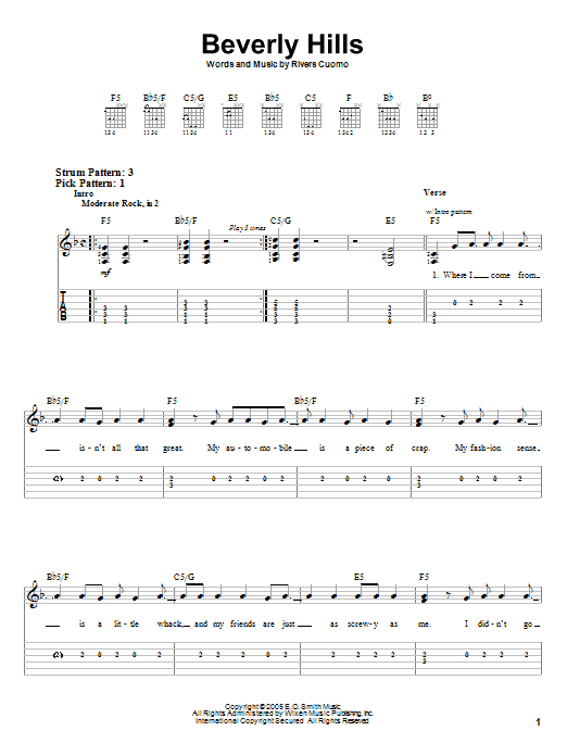 Beverly Hills (Easy Guitar Tab)