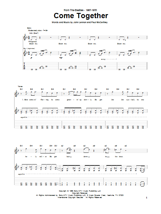 Tablature guitare Come Together de The Beatles - Tablature Guitare
