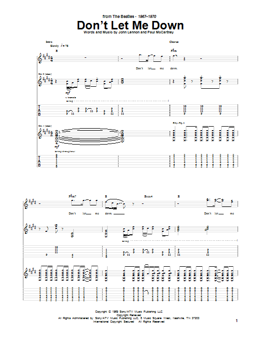 don 39 t let me down by the beatles guitar tab guitar instructor