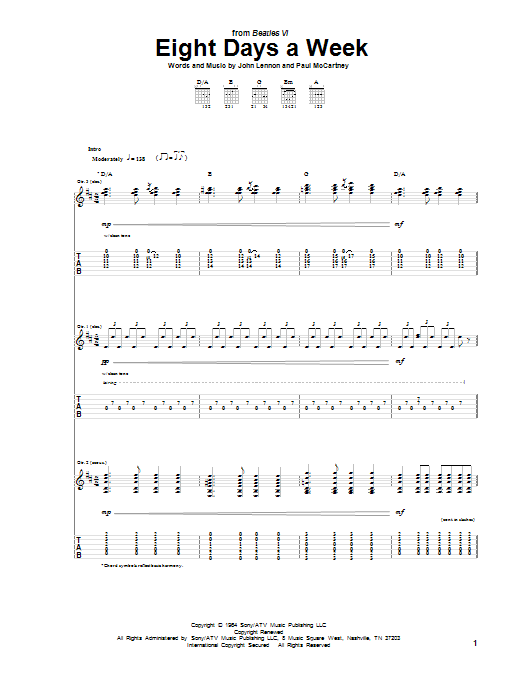 Eight Days A Week (Guitar Tab)
