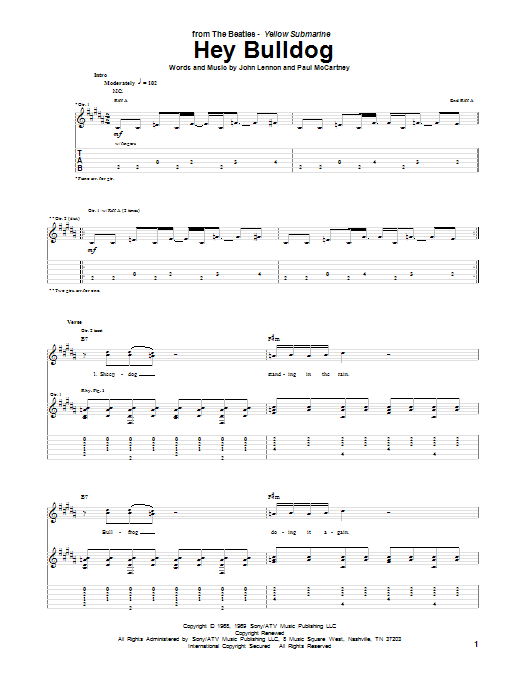 Tablature guitare Hey Bulldog de The Beatles - Tablature Guitare