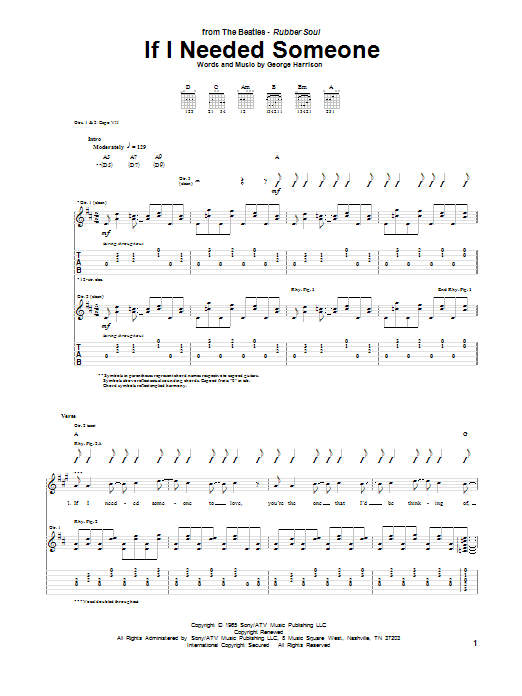 If I Needed Someone Sheet Music