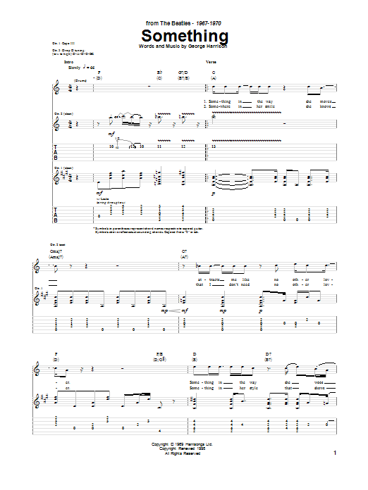 Tablature guitare Something de The Beatles - Tablature Guitare