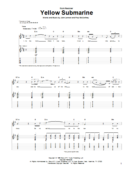 Yellow Submarine Sheet Music