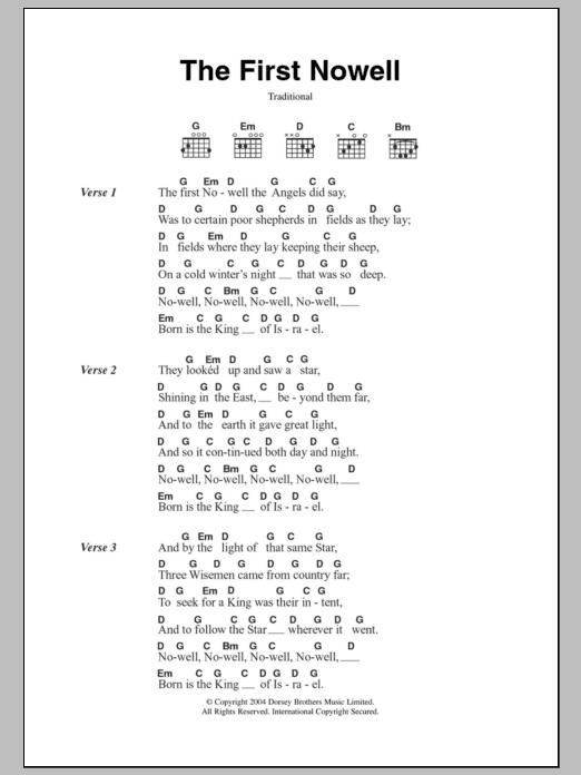 The First Nowell sheet music by Christmas Carol (Lyrics & Chords ...