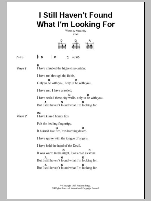 I Still Haven't Found What I'm Looking For by U2 Piano, Vocal & Guitar  (Right-Hand Melody) Digital Sheet Music