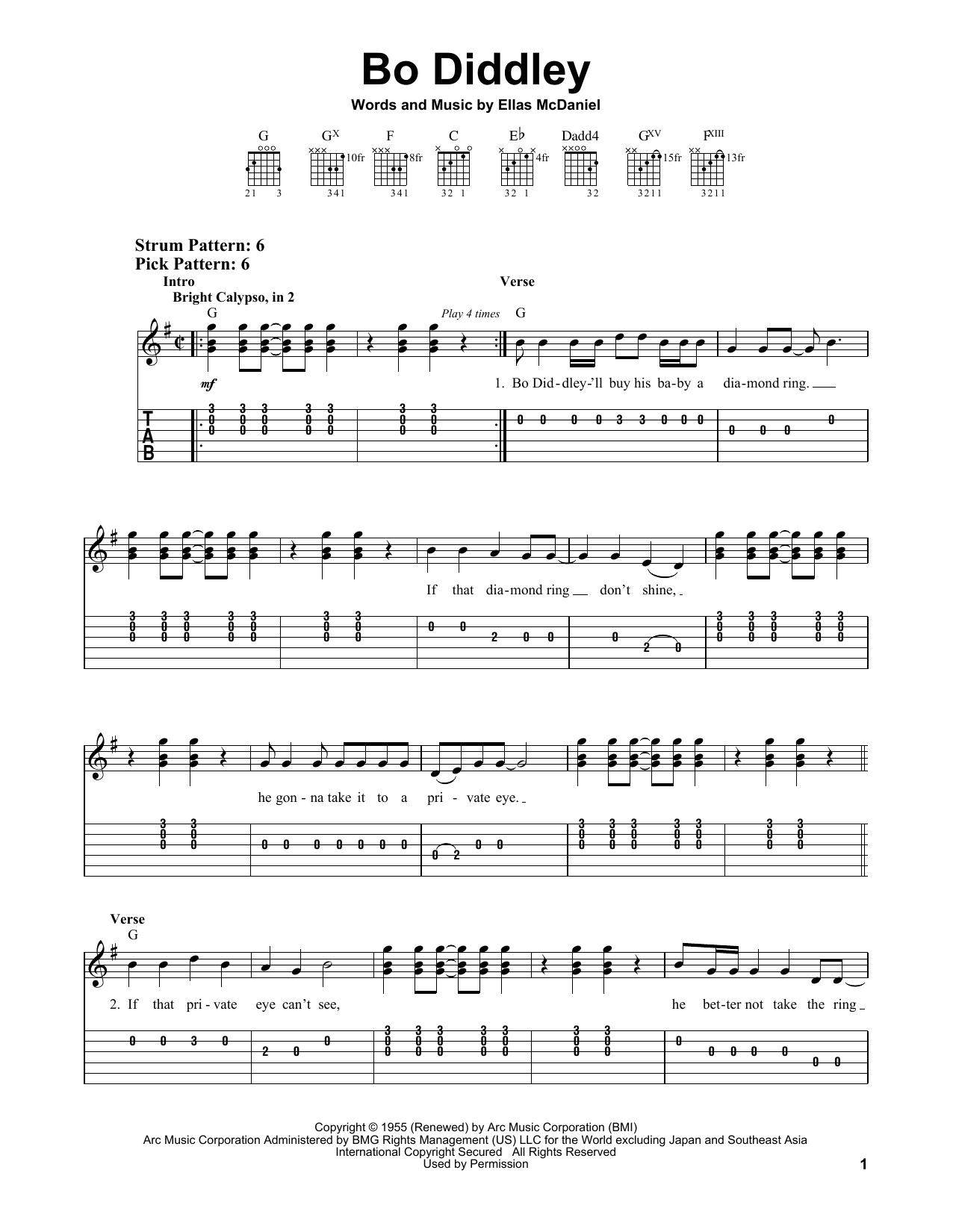 Bo Diddley (Easy Guitar Tab)