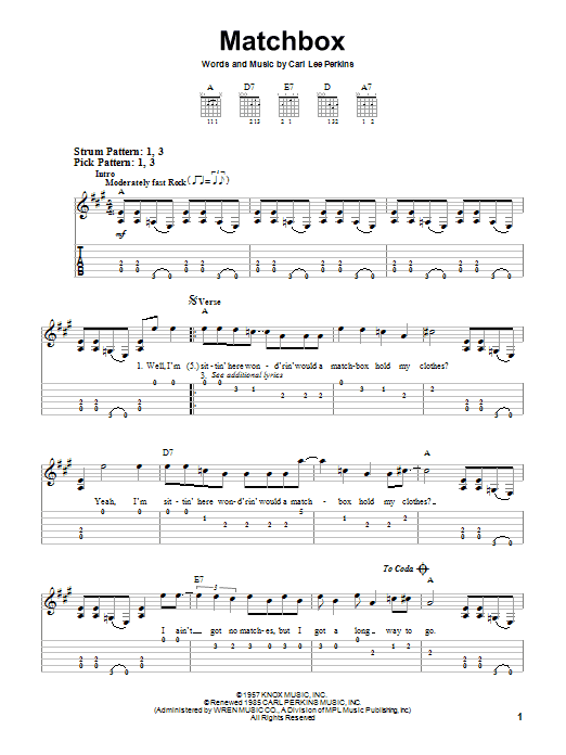Matchbox (Easy Guitar Tab)